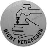 Edelstahlschild mit Symbol Wasserhahn