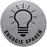 Edelstahlschild mit Symbol Glühbirne