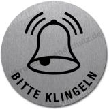 Edelstahlschild mit Symbol Glocke