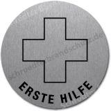 Edelstahlschild mit Symbol Erste-Hilfe-Kreuz