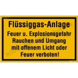 Schild - Flüssiggas-Anlage Feuer und Explosionsgefahr ....