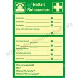 Text-und Kombischild- Notfall-Rufnummern (nachleuchtend)
