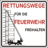 Schild - Rettungswege für die Feuerwehr freihalten!