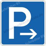 Symbolschild - Parkplatz (mit Pfeil) Ende
