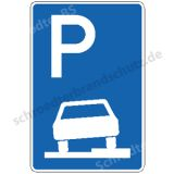 Symbolschild - Parken halb auf Gehwegen