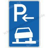 Symbolschild - Parken halb auf Gehwegen (Anfang)