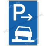 Symbolschild - Parken halb auf Gehwegen (Ende)