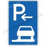 Symbolschild - Parken ganz auf Gehwegen (Anfang)