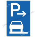 Symbolschild - Parken ganz auf Gehwegen (Ende)