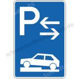 Symbolschild - Parken halb auf Gehwegen (Mitte)