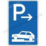 Symbolschild- Parken halb auf Gehwegen (Ende)
