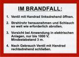 Schild - Im Brandfall DIN 14461-1 für formfesten Schlauch