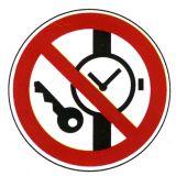 Verbotsschild - Mitführen von Metallteilen und Uhren verboten