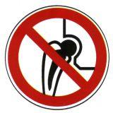 Verbotsschild - Verbot für Personen mit Metallimplantaten