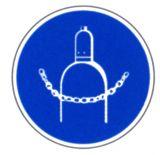 Gebotsschild - Druckgasflasche durch Kette sichern