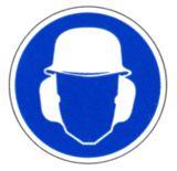 Gebotsschild - Gehör - und Kopfschutz benutzen