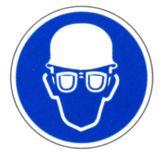 Gebotsschild - Augen- und Kopfschutz benutzen