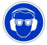 Gebotsschild - Gehör - und Augenschutz benutzen